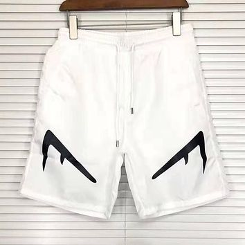FENDI Summer Fashion Men Women Casual Sport Shorts White