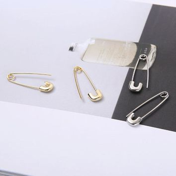 European Punk Hip Hop Brooch Safety Pin Stud Earrings Gold & Silver Color Cooper Earring for Women and Men Party Jewelry Gift