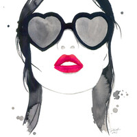 Kiss em and Hide, print from original watercolor fashion illustration by Jessica Durrant