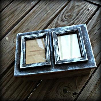 Hand Painted Wooden Double Photo Memory Box, Rustic, Dark Brown, White, Ivory,