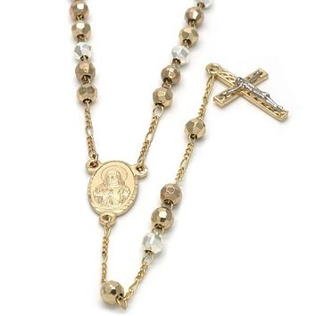 Gold Plated 09.59.0022.26 Medium Rosary, Sagrado Corazon de Jesus and Crucifix Design, Diamond Cutting Finish, Tri Tone