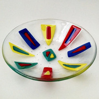 Fused Glass Bowl - Geometric Dish - Fused Glass Dish - Fruit Bowl - Decorative  Bowl - Serving Bowl - Rainbow Glass - Modern - Abstract
