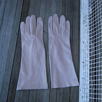 Classy-Sexy Vintage Beige Kid Gloves - Size 7 1/2 Women's Above-Wrist Nude Kid Leather Gloves - '80s Lux Kid Gloves - Upscale Gift Gloves