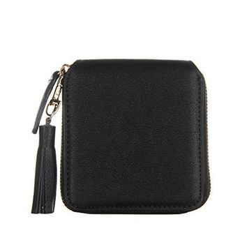 Nico Louise Womenrsquos Square Leather Zipper Wallet Coin Purses Holders Tassel Clutch