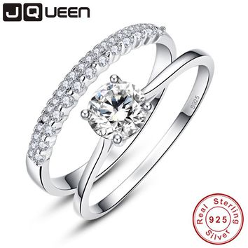 JQUEEN 0.9 Carat Round Cut Ring Set Solid 925 Sterling Silver Bague 2pcs Engagement Wedding Bridal Ring Set Jewelry With Box