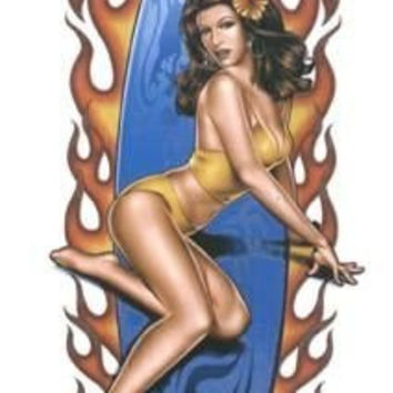 Michael Landefeld - Flame Surf Board Pin-up Girl - Sticker / Decal