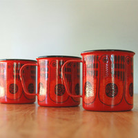 "3 Vintage Finel Arabia Lintu ""Red Bird"" Enamel Mugs"