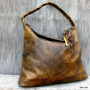 Distressed Brown Leather Hobo Bag by Stacy Leigh Ready to Ship