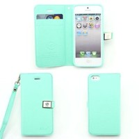 fashion Ailun leather wallet card flip Case Cover Skin For Apple iPhone 4 4g 4s (mint green)