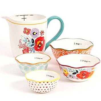 The Pioneer Woman Flea Market 5-Piece Prep Set, 4-Piece Measuring Bowls with 4-cup Measuring Cup (1)