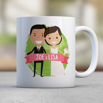 Wedding Couple Gift Custom Illustration Avatar Brother Gift Sister Gift Husband Gift Wife Gift Coffee Mugs Cute Mugs Wedding Favors