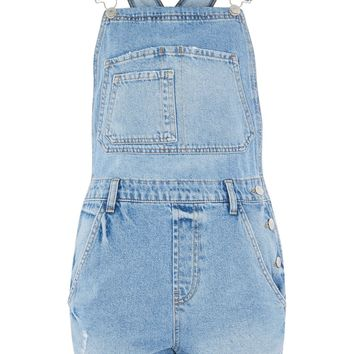 MOTO Boyfriend Short Dungarees - Denim - Clothing