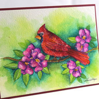OOAK, Watercolor Card, Original Handpainted,NOT A PRINT, Painting of a Cardinal, Art, Bird Card, Original Painted Card.