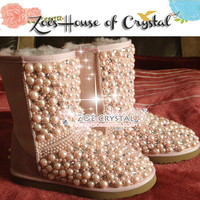 BLACK FRIDAY Sales 20% off - Winter Promotion Bling and Sparkly Pink Pearls SheepSkin Wool BOOTS w shinning Czech or Swarovski Crystals