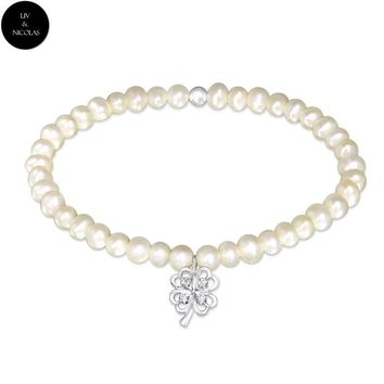 Solid 925 Sterling Silver Fresh Water Pearl , Zirconia Four Leafed Clover Bracelets