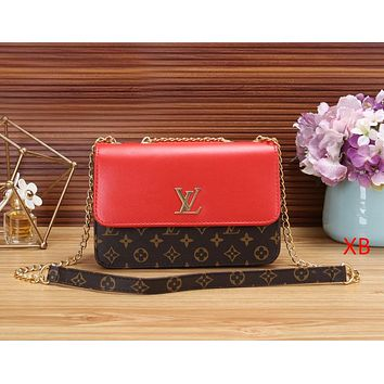 LV Louis Vuitton Newest Popular Women Shopping Bag Leather Metal Chain Shoulder Bag Crossbody Satchel Red