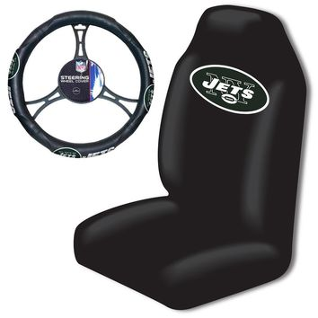 New York Jets NFL Car Seat Cover and Steering Wheel Cover Set
