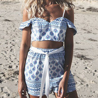 Women's Two-piece Beach Suits Clothing Blue Printed  Rompers