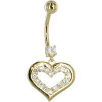 Solid 14KT Yellow Gold Cubic Zirconia ENCASED HEART Dangle Belly Ring | Body Candy Body Jewelry