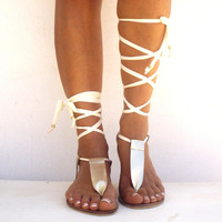 Gold Gladiator Leather Sandals, Ivory lace up Sandals, Greek Sandals, handmade Genuine leather shoes, Bridal sandals