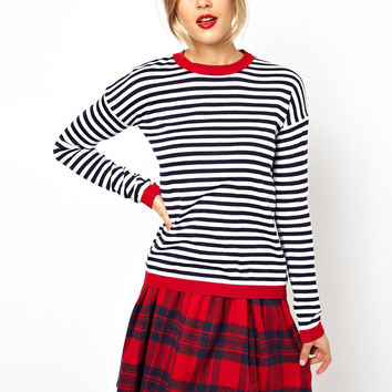 Black and White Striped Long Sleeve Back Cutout T-Shirt