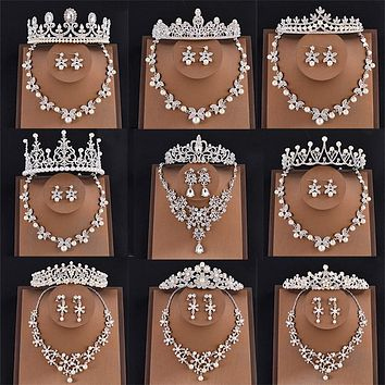 Crystal Bridal Jewelry Tiaras and Crowns Necklace and Earrings Set Cosplay