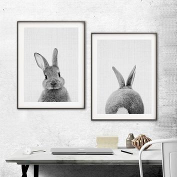 Nordic Lovely Rabbit Print and Poster Wall art Animal Canvas Painting Picture for Living Room Home Decor