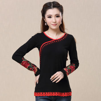 Red black pullover women autumn winter bohemian hippie long sleeve lace embroidery t shirt M-3XL undershirt top Alternative Measures