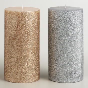 3x6 Silver and Gold Glitter Pillar Candles, Set of 2 - World Market