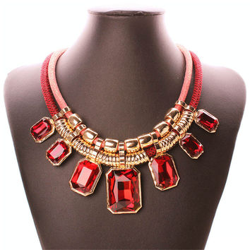 Trendy Necklaces Pendants Link Chain Double Layers Big Crystal Choker Necklace NE060
