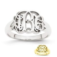Personalized Monogram Signet Ring in Sterling Silver or Solid Gold