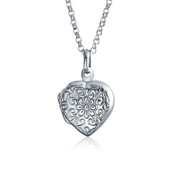 Embossed Flower Photo Heart Shape Locket That Hold Pictures 925 Silver