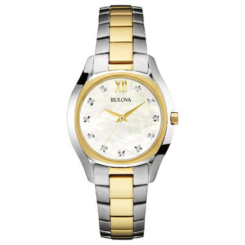 Bulova 98P145 Women's Maiden Lane Diamond Accented White MOP Dial Two Tone Steel Watch