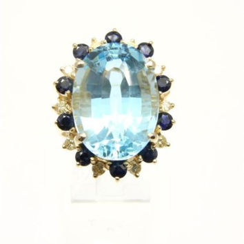 GENIUNE BLUE TOPAZ SAPPHIRE & DIAMOND RING SET IN SOLID 14K YELLOW GOLD