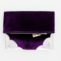 TOUCH / Purple velvet & Natural leather folded clutch - Ready to Ship