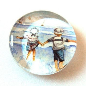 Glass Paperweight Children at the Beach Watercolor by SovereignSea