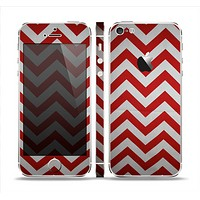 The Red Vintage Chevron Pattern Skin Set for the Apple iPhone 5