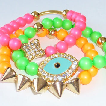 NEON Swarovski Pearl Bead Bracelet Set with Gold Spikes, Evil Eye and Pave Bead