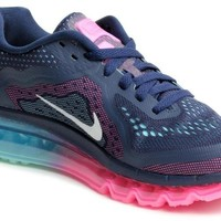 NIKE Air Max 2014 Ladies Running Shoe, Navy/Pink, US6.5