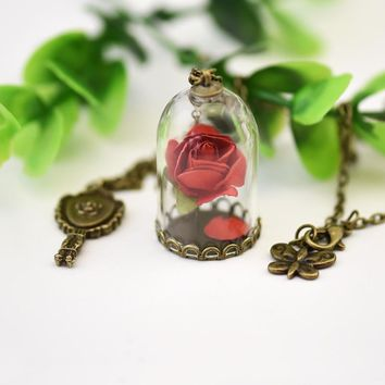 Lady Retro Glass Vial Necklace Pendant, Natural Rose Red Flower Little Prince Necklace Jewelry (Pack of 12)