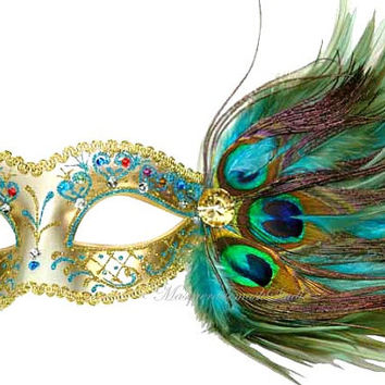Masquerade Mask - Pretty Turquoise Peacock Feathered Venetian Mask w Crystals