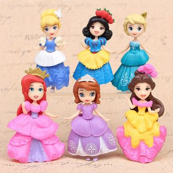 Disney Frozen Elsa Kids Personalized Gifts Snow Princess Belle Cinderella Car Doll  Vinyl Girl Action Figures Toys for Children
