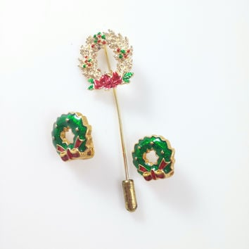 Vintage Christmas Lapel Pin and Clip Earrings