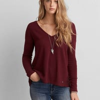 AEO LACE PANEL V-NECK PULLOVER
