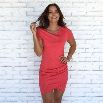 Baby I Love Your Way Ruched Dress In Coral