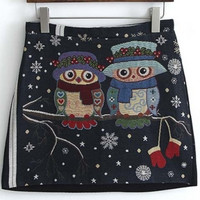 Embroidery Owls Print Zip-Back A-Line Mini Skirt
