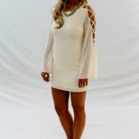 Cream Ladder-Sleeved Shift Dress - Always a Runway Clothing