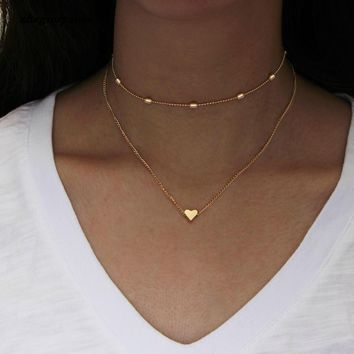 simple Golden Love Heart Necklace For Women Multi-layer Ball Neck Necklace Collier Necklace Ras Du Cou Femme Statement Necklace