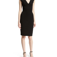 TOM FORD Cap-Sleeve V-Neck Sheath Dress, Black