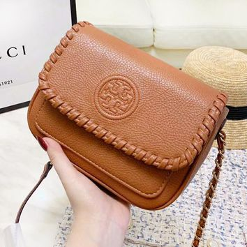 Tory Burch New fashion leather shoulder bag women Brown